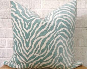 Zebra Print Pillow Cover, Aqua Teal animal print pillow, Velvet Zebra
