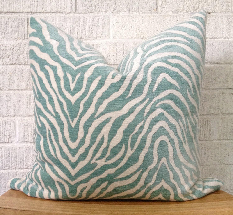 Animal Print Pillow Covers : Zebra Print Pillow Cover Aqua Teal animal print pillow