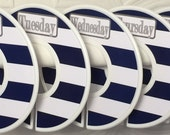 Custom Closet Dividers Organizers Days of Week Wide Navy Stripes with Grey Font CD152 Boy Girl Baby Shower Nursery Gift Clothes Organizers