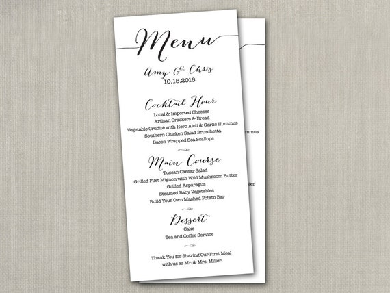 Wedding Reception Table Menu Menus Size Cards 4 X 9