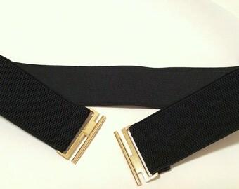 Black Waist belt, waist belt, elastic waist belt, Elastic belt, Woman Elastic Belt, Stretch Belt, Belt, Cincher, Cinch Belt, Plus size belt