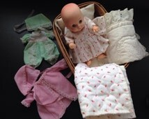 Longaberger 1988 Doll Cradle with Handmade Doll Clothes (3) and Small Uneeda Doll Excellent Condition