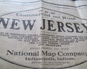 Vintage 1920 National Map Company Commerical State Map of New Jersey Edition 1069