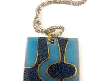 Copper Enamel Pendant Necklace Signed Jules Perrier Artisans Quebec