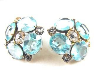 Rhinestone Earrings Jay Kel Sterling Vermeil Blue Topaz Faceted Glass Flowers