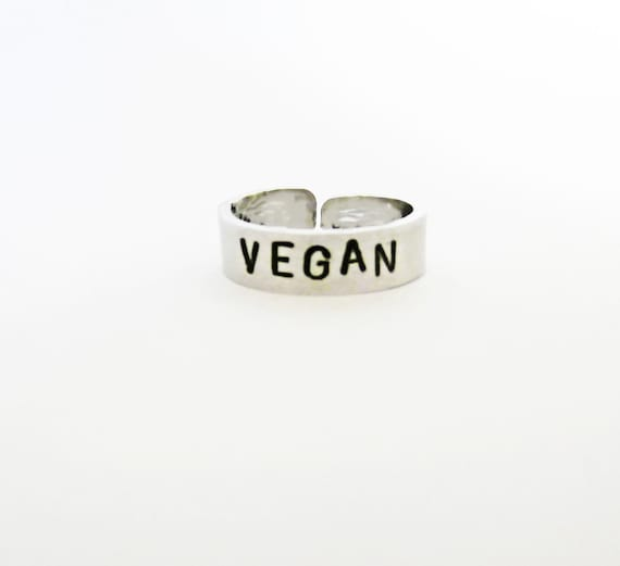 Vegan ring, personalized ring, adjustable ring, animal friendly jewelry, aluminium ring, hand stamped ring, handstamped ring veg silver ring