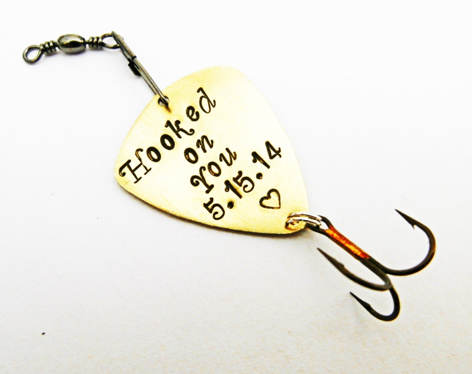 Custom fishing lure mens personalized fishing lure hooked on for Engraved fishing lures