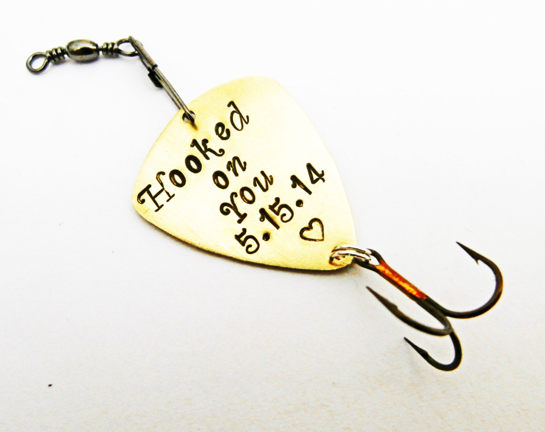 Custom fishing lure mens personalized fishing lure hooked on for Personalized fishing lure