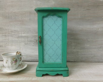Necklace Hanger/Jewelry Box Painted Emerald Green