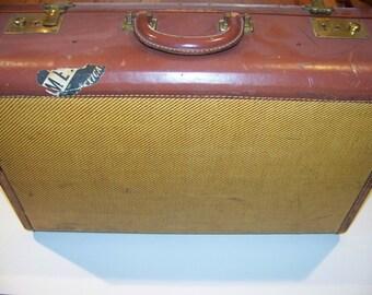 vintage suitcase leather and tweed