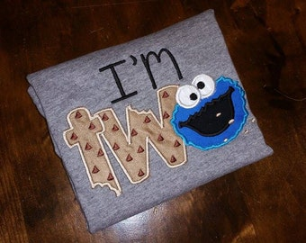 Cookie Monster TWO Birthday Shirt