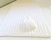 Rectangular Plush Crochet Cotton Bath Rug w/ soap bag or doily as a gift with purchase, White Bath Mat, Spa Bathroom Gift Set