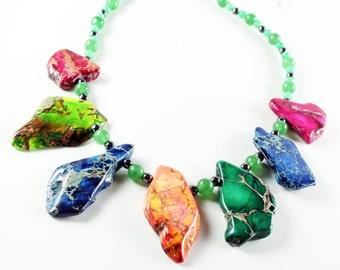 Rainbow Imperial Jasper Necklace, green aventurine, hematite, statement necklace, multi-color gemstones, artisan, gift for her, NL2991