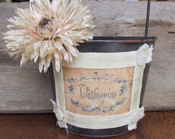 Clothespin Holder, Laundry Room Decor,  Primitive Country Wall Pocket, Upcycled Tin Bucket