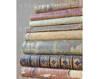 "Old Books Photograph, Book Photography, Antique Books Print, 8 x 10"", C L Murphy Creative"