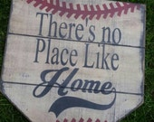 There's No Place Like Home home plate sign distressed baseball