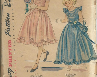 1948 Simplicity 2685 Sewing pattern Girls Size 7 Ruffled Dress in Two Lengths