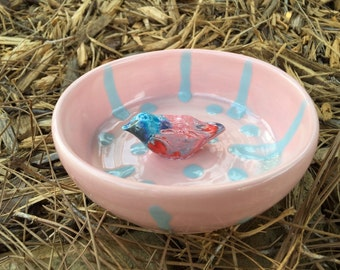 Pink and Blue Dish, blue and pink, light, small bird bowl, small dish, bird pottery, ceramic bird, clay bowl, trinket holder, pink and blue