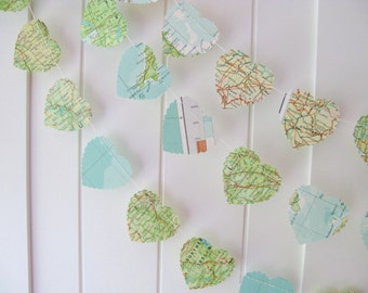 10ft Map Garland - Hearts, Map Paper Garland, Heart Garland, Wedding Garland, Bridal Shower,