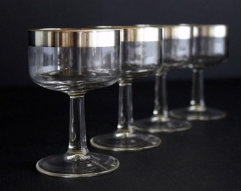 Authentic Vintage Dorothy Thorpe Allegro Glassware Cordial Sherry  Set Of 4 MCM