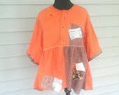 Pumpkin  patch upcycled  plus  size  tunic  boho  lagenlook  mori  girl