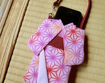 Iphone protection case made of japanese kimono fabric pink pattern, kimono case iphone, smart phone protection case, cell phone sleeve.