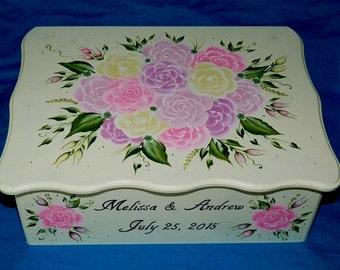 Shabby Chic Wedding Card Box Hand Painted Large Keepsake Memory Box Personalized Wedding Reception Money Box Romantic Bridal Shower Gift
