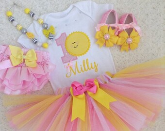 Sun Birthday outfit-include Personalised Top and Tutu . Free matching headband