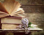 Bedroom Wall Decor, Book Art, Rustic Photography, Library & Office Wall Art, Book Lover Print, Farmhouse Decor | 'Lilacs And Lit'