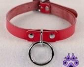Pawstar BASIC RING COLLAR Black Red Pink Purple Blue Teal White Leather Cyberpunk Cybergoth Bondage Pet Goth Punk Classic O ring Fetish 5040