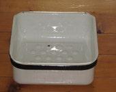 Vintage White Enamel Refrigerator Drawer Black Trim