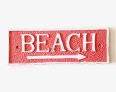 Rustic Beach Signs. Hand Painted Coastal Decor. Nautical Nursery Wall Art. Ocean Bathroom Decor. Coral Beach Decor. Shabby Chic Wall Hanging