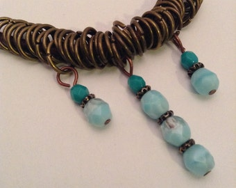 Leather Bib Necklace, Blue and Turquoise Beaded Necklace