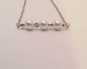 Pearl Horizontal Bar Necklace, Silver Bar Necklace, Delicate Summer Necklace