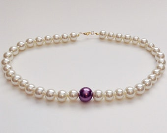 Bridal Pearl Necklace with Purple Accent Pearl, Pearl Wedding Necklace