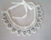 Handmade ivory Pearl Collar Necklace Women Accessories Peter Pan Collar Bib Pearl Collar Wedding Accessories