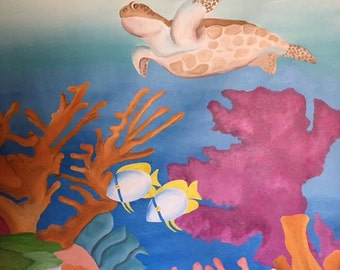Ocean Mural, Canvas Mural, Ocean Painting, Nautical Party Decor, Ocean Room Decor, Nautical Room Decor, Kids Room Decor, Underwater Mural