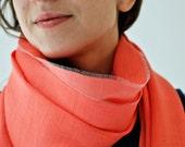 shawl, tube scarf, summer shawl, coral, neon red, wedding accessory