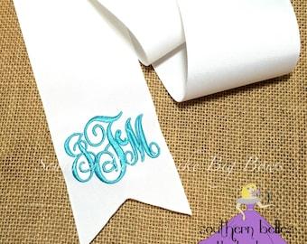 """Monogrammed Bouquet Ribbon, Bridal Bouquet Ribbon, 3"""" Wide Monogrammed RibboMonogram Bouquet Ribbon, Ribbon for Bridal Bouquets, Bridesm"""