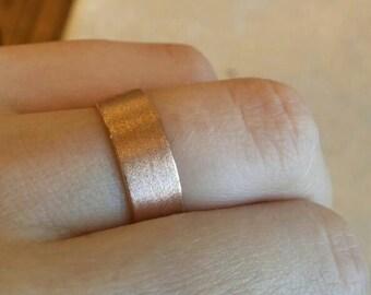 Rose gold wedding band women, rose gold wedding ring, wide gold ring, 14k rose gold ring