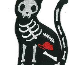 "5"" High X-Ray Black Cat Skelanimals Iron-on Patch Punk Emo Scene Kid Raver Horror Hipster Goth Kitty Kitten Gothic Rocker Cute Bones Mouse"