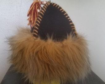 Viking/ Mongol Faux Fur Hat