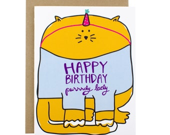 Funny Birthday Card for girlfriend, Funny Birthday Card Mom, Birthday Cards Funny, Cat Birthday Card, Girlfriend Birthday Card, cat card