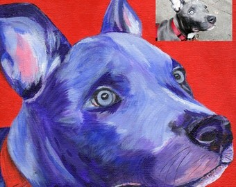 Custom Dog Portrait - Acrylic on Gallery Wrapped Canvas - Dog Art  -  Hand-painted - Animal Art