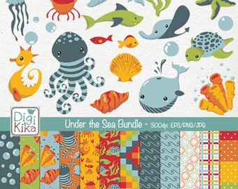 Under the Sea Digital Bundle - Clipart and Paper Pack - scrapbooking , invitations, photo album, paper crafts - Instant Download