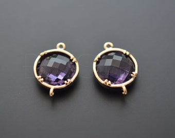 2pcs - (Amethyst) Gold Framed Drop Glass Connector (B0234G) - Glass connector, Emerald earrings, Glass Link, Charm, Disk Connector