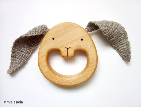 Organic Baby Toys : Wooden teething baby toy teether organic