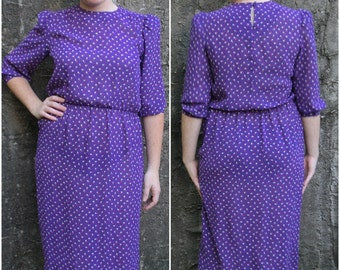80's Sheer Purple Puff Sleeve Floral Secretary Dress Size 8 Size 10