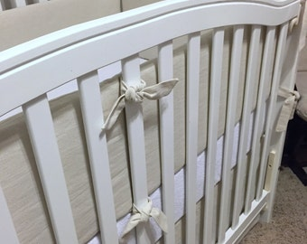 Vintage LINEN Crib Bumper- Restoration Hardware Inspired- Choose your own colors