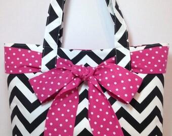 X-LARGE black and white CHEVRON stripe zigzag Handbag/ Diaper Bag/ Purse/ Tote with Hot Pink/Fuchsia and White Polka Dot Bow/Sash